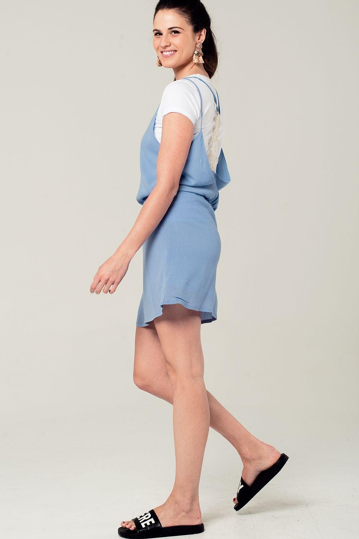 48ea3f7dcad57e Blauwe mini jurk met gehaakt rugdetail enlarge