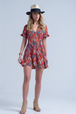 Rode jurk met korte mouwen en bloemenprint