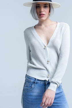 Silver lurex cardigan with pearl buttons