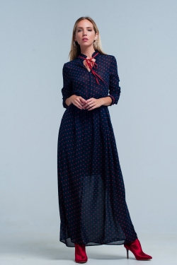 Maxi jurk Navy Chiffon Polka Dot