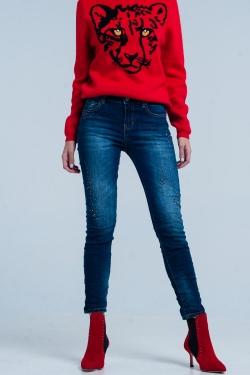 Donkere Jeans met Gekreukte Pijp en Edelsteentjes