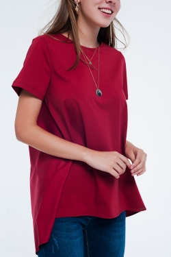 T-shirtjurk in Maroon