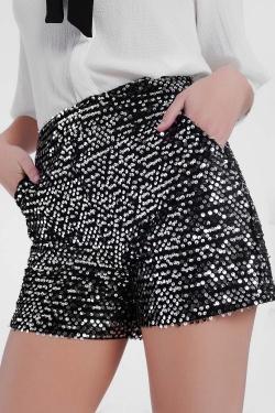 Zilveren glimmende shorts