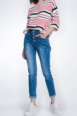 Boyfriend jeans in licht bleuw denim