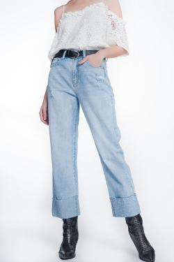 Cropped jeans met kristallen strass detail
