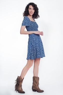 marineblauw Gebloemde jurk met aangerimpelde voorkant