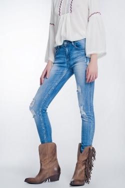 Superskinny jeans in vintage blauw met grote scheuren