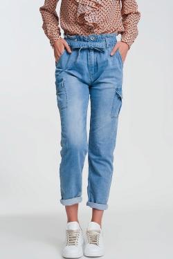 Jeans met plooirand en gestrikte taille in lichtblauw