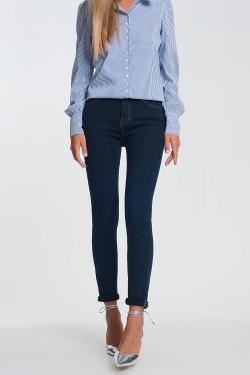 Donkere wassing glinsterende jeans met hoge taille en