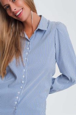 Overhemd met wijde mouwen en strepen in blauw