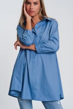 Oversized overhemd poplin met kraag in blauw