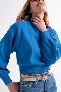 Cropped trui met opstaande boord in blauw