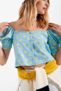 Polka dot top met pofmouwen en vierkante hals blauw en groen