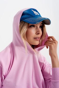 Roze trui met lange mouwen en capuchon