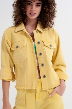 Denim jack met gerafelde zoom in geel