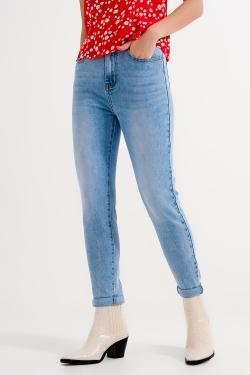 Skinny jeans met hoge taille in blauw met lichte wassing